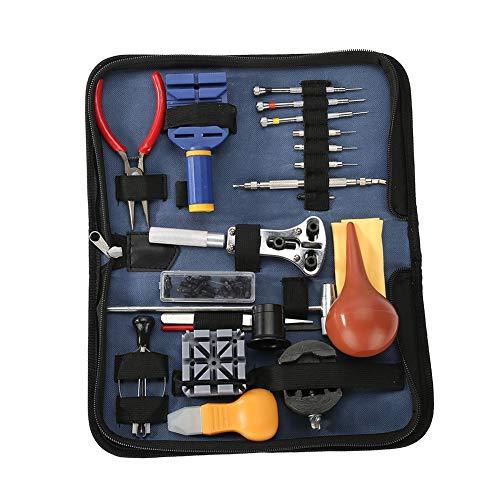 Zerone Juego de herramientas de reparación de relojes, 21 piezas, kit de herramientas de relojería profesional con estuche de transporte