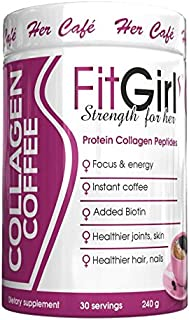 FitGirl Pure hydrolyzed Collagen peptides with Instant Coffee, Grass fed, 30 Servings Promotes Healthy Skin, Healthier Coffee