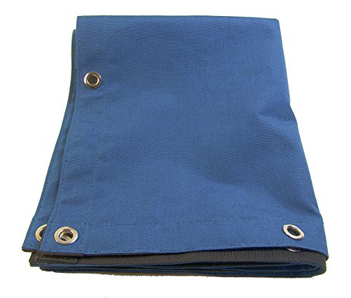 Buy Discount Sunbrella Tarp Royal Blue Tweed w/Reinforced Edging & 1/2 inch Brass Rolled Rim Spur G...