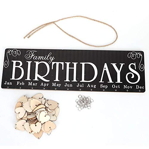 Tarjeta de cumpleaños de la familia, calendario de madera suspendido, adorno de familia, mensaje de recordatorio de cumpleaños para la decoración doméstica, sala de estar, oficina