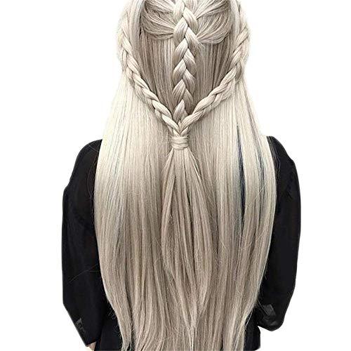 WZwig Perruque Mesdames Droite Perruque Cheveux Synthétiques Argent Rouge Cheveux Chaleur Long Perruque en Épingle À Cheveux Habille Coiffure Perruque (Color : Gray)