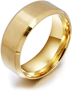 NEXT FASHION Wedding Ring for Men and Women, Stainless Steel Ring, 8mm Bands Jewelry, Polished Smooth Inner Face - Comfort...