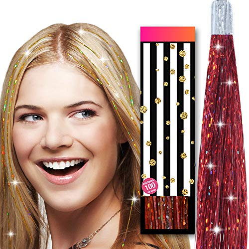 Hair Tinsel Glitter Strands - by HAIR DAZZLE - 100 x 40 inch Holographic Fairy Extensions - RUBY RED color - Salon Quality & Safe For Kids, Perfect Christmas Party Accessories or Gifts for Girls