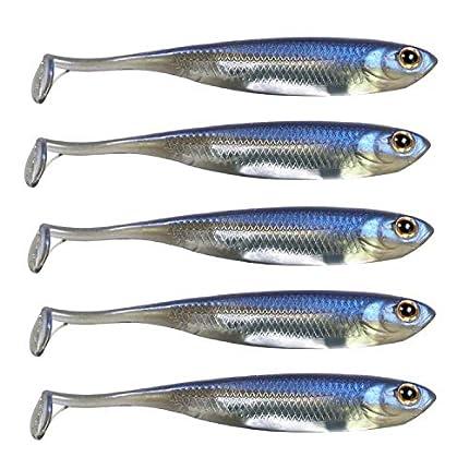 QualyQualy Señuelos de Vinilo para Pesca - Senuelo Minnow - Blandos senuelos de Pesca - Cebos Artificiales de Pesca (1#, 10cm - 5 Piezas)