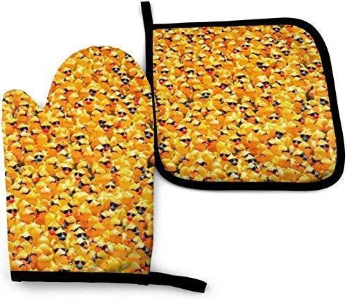 AlineAline Goma Ducky Con Gafas De Sol Hielo Flor Horno Mitones Y Pot Titulares Cocina Resistente Al Calor Cocina Horno Bbq Mitones