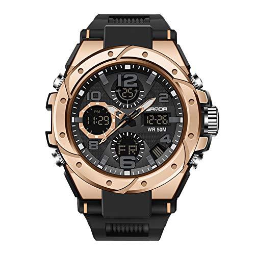 Herren Digitale Armbanduhr Military Sport Analog-Digital Chronograph Uhren für Männer Big 56 mm Wasserdicht LED Harz Armbanduhr (F)
