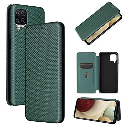 Casos básicos de teléfono Celular para Samsung Galaxy A12 / M12 / F12 Fibra de Carbono Textura Magnetic Horizontal Flip TPU + PC + Funda de Cuero PU con Ranura para Tarjeta (Color : Green)