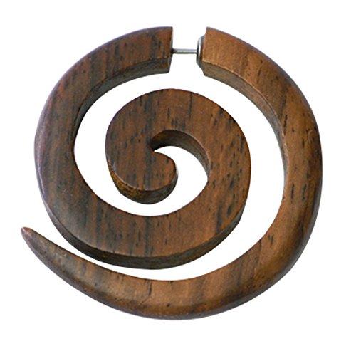 Pendiente Tribal Chic-Net de madera de Sono grande de acero inoxidable de la correa falsa perforación espiral marrón