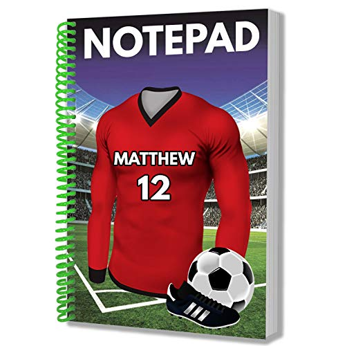 Gepersonaliseerd cadeau - Voetbal Rood Shirt - A5 Kladblok - Notebook - Verjaardag - Kerstmis - Voorraadvuller - Geheime Kerstman - ADD Elke naam en nummer Crawley Town