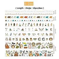 8ピース漫画画用紙和紙テープセット子犬クジラ動物園森林動物人魚花接着マスキングテープステッカーDIY A6314