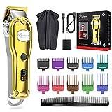 Hatteker Hair Clipper Professional Hair Trimmer Men Hair Trimmer Beard Trimmer Precision Long Hair Trimmer Waterproof IPX7 Gold
