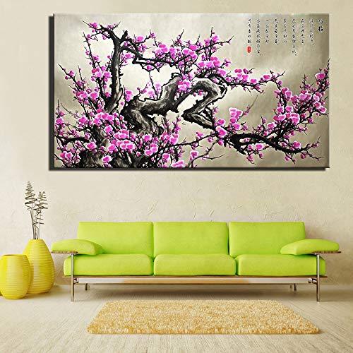 YuanMinglu Chinesische Blume Leinwand Malerei Wohnzimmer Moderne Dekoration Malerei Chinesische Pflaume Blumendruck Rahmenlose Malerei 30x45cm