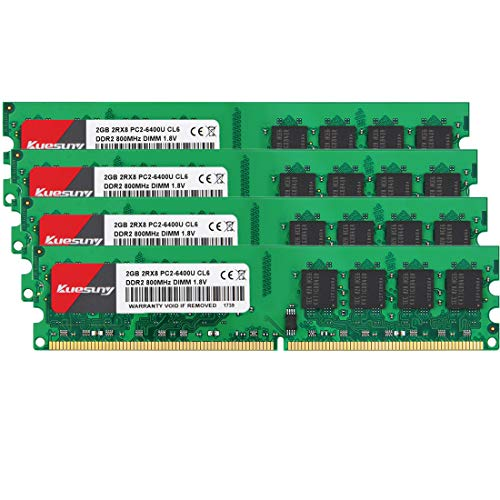 Kuesuny 8GB Kit (4x2GB) DDR2 800MHZ UDIMM PC2-6400 PC2-6300 DIMM 1.8V CL6 2Rx8 Desktop Memory RAM Compatible with AMD Intel