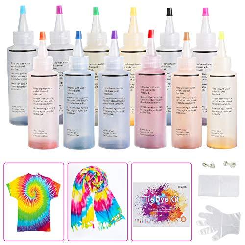 Ucradle 12 Colores Tie Dye Kit, Neón Pinturas Textiles de Tela Permanentes Conjunto de...