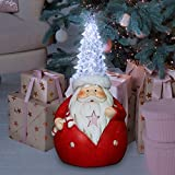 "Exhart 9.5"" Christmas Santa Gnome – Light-Up Santa Claus w/White LED Christmas Tree Hat + Automatic Timer - Vintage Santa Décor Christmas Decoration- Gnome Christmas Decoration for Outdoor & Indoor"