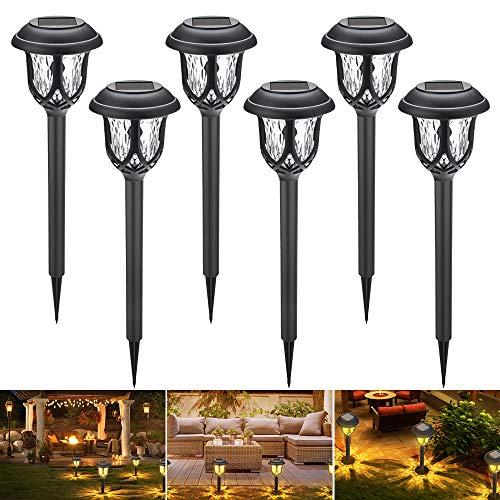 Solarleuchten Garten 6 Stücke, GEEDIAR Gartenleuchte Solar Wasserdicht Warmweiß Solarlampen für außen für Terrasse, Rasen, Garten, Wege