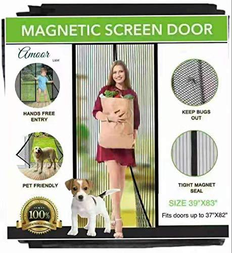 Amoor [Upgraded Version] Reinforced Magnetic Screen Door, Fits Doors up to 37 x 82-Inch max (39''83'')