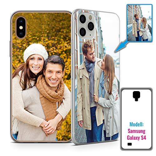PixiPrints Foto-Handyhülle mit eigenem Bild kompatibel mit Samsung Galaxy S4, Hülle: Hardcase in Transparent, personalisiertes Premium-Case selbst gestalten mit High-End-Druck