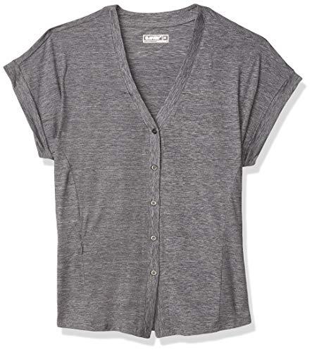 Hi-Tec Women's Echo Dolman Short Sleeve Button Front Shirt, Silver Sconce, Medium