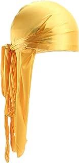 Fxhixiy Men Women Durag Extra Long-Tail Headwraps Silky Satin Pirate Cap Bandana Hat for 360 Waves