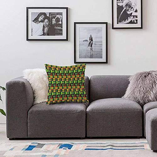Bedsure Funda Cojin 40x40cmPatrón de Kente, diseño Tribal de Kenia Nigeria con Vivos Colores culturales Abstracto tradicionaFunda de Almohada Cuadrada para Sofá, Dormitorio y Sala de Estar