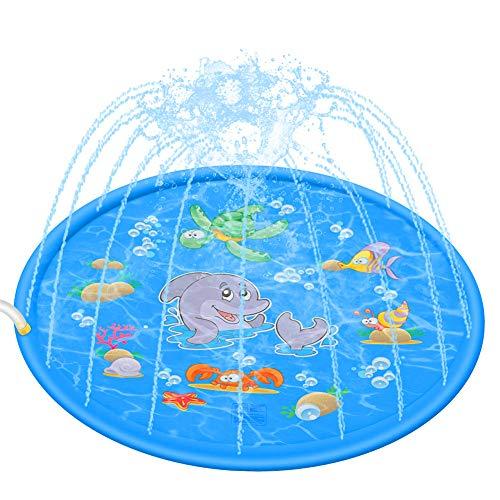 Splash Pad,170 cm Sprinkler Play Matte, aufblasbare Wasserspielmatte Verano jardín Wasserspielzeug niños Baby Pool Pad jeringuillas para Outdoor Familia Actividades/Fiestas/Playa/jardín, Shark