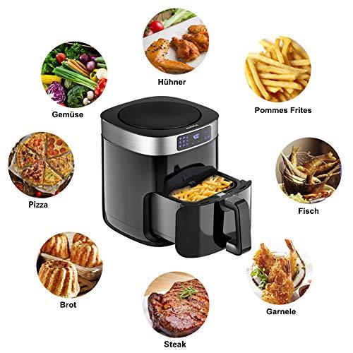Aucma Friggitrice ad aria calda 4,5 l XL Friggitrice ad aria calda, 1500 W Airfryer con display digitale, timer, 9 programmi, friggitrice multifunzione per uso domestico, senza grassi