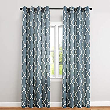 Moroccan Pattern Linen Drapes Grommet Top, Room Dimming Flax Linen Blend Textured Ironwork Printed Window Covering for Living Room (50 Width x 84 Length, Blue, Set of 2 )