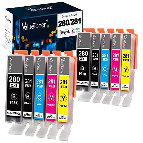 Valuetoner Compatible Ink Cartridge Replacement for Canon 280 281 PGI-280XXL CLI-281XXL for PIXMA TR7520 TR8520 TS6120 TS6220 TS6320 TS8120 TS8220 TS9120 TS9520 TS9521C TS702 Printer (10 Pack)