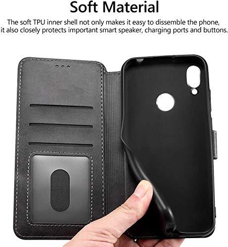 All Do Hülle für Huawei nova 5T/Honor 20 ,Premium PU Leder Flip Schutzhülle mit [Kartensteckplätze], [Ständer] [Magnetverschluss] Magnetisches Flip Wallet Case (Schwarz) - 6