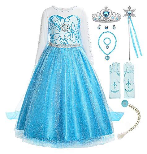 ReliBeauty Ragazze Vestito Bambine Principessa Elsa Costume Abito,8 Anni (140),con Accessori