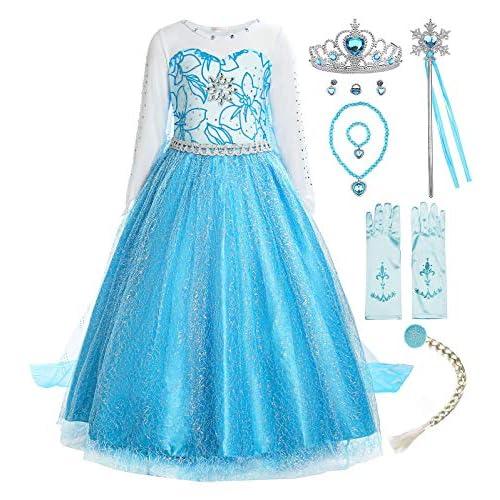 ReliBeauty Ragazza Principessa Vestito Elsa Frozen Bambina Costume, Blu(con Accessori), 4 Anni