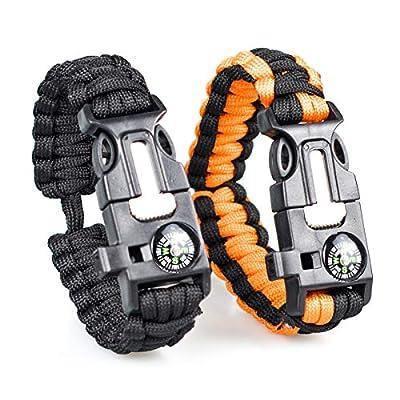 Sikawai Adjustable Paracord Bracelet Ridge & Canyon Survival Bracelet Tactical Emergency Gear Kit Perfect for Hiking & Outdoor Survival Bracelets Black & Black+Orange (2 Pack)
