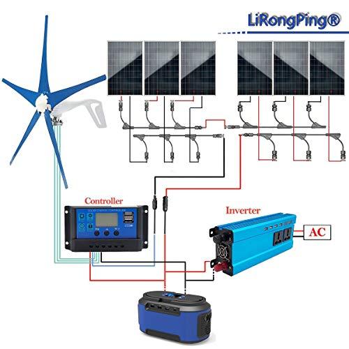 600 W Solar Panel & Wind Turbine Akku-Ladesystem: 400 W WIND GENERATOR Mit Hybrid Laderegler + 6 X 100 W Poly Solarzellen + Off Grid MPPT Wechselrichter 1200 W