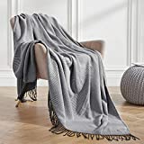 VEEYOO Charcoal Throw Blanket for Couch, Charcoal Striped Knit Throw Blanket with Tassels, Decorative Soft Knitted Blanket Throw 50x65 inch