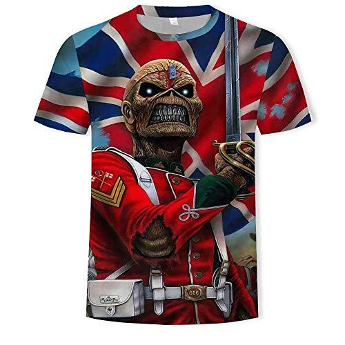 Herren Tshirt Heavy Metal Musik Coole Klassische Rockband Skull Head Fashion 3D Dj-T324_4XL