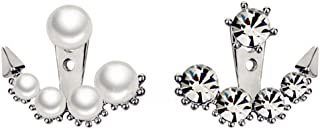 18K Gold Plated Two-tone asymmetric Five Pearls With Five Zircons Women Double Sided Stud Earrings