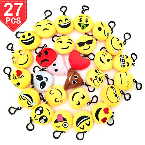Timekiller Emoji Keychain 27 Pack Birthday Party Supplies Favors Gift for Kids Students Christmas Pack of 27