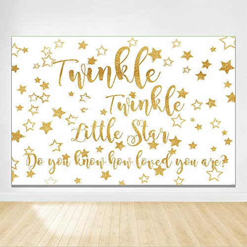 Felizotos White Golden Stars Twinkle Twinkle Little Star Background Baby Shower Backdrop Happy Birthday Backdrops Newborn Photography Banner Decors 6x4ft