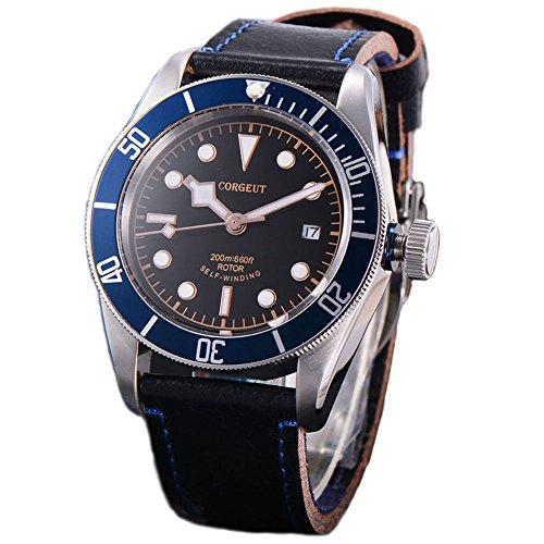 Corgeut Herren Analog Saphirglas Automatikwerk Uhren Mit Lederband51L