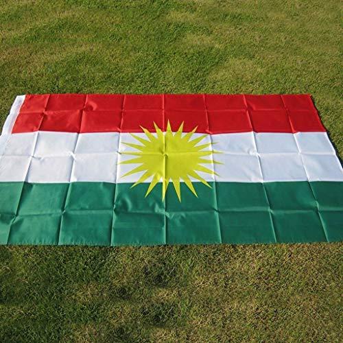 Koerdische Vlag 90 * 150cm Koerdistan Vlaggen, Koerdische Polyester Opknoping Flag En 2 Dubbelzijdig Bedrukt