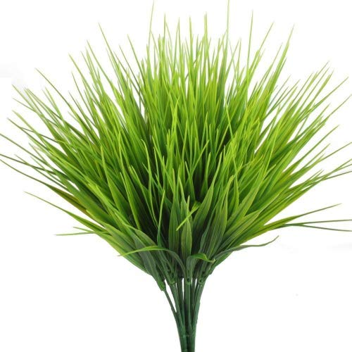 Artificial Outdoor Plants, AngleLife 4pcs Fake Plastic Greenery Shrubs Wheat Grass Bushes Flowers Filler Indoor Outside Home House Garden Office Decor