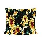 Women Teen Girls Sunflower Strapless Pleated Bandeau Tube Crop Tops (S, Sunflower)