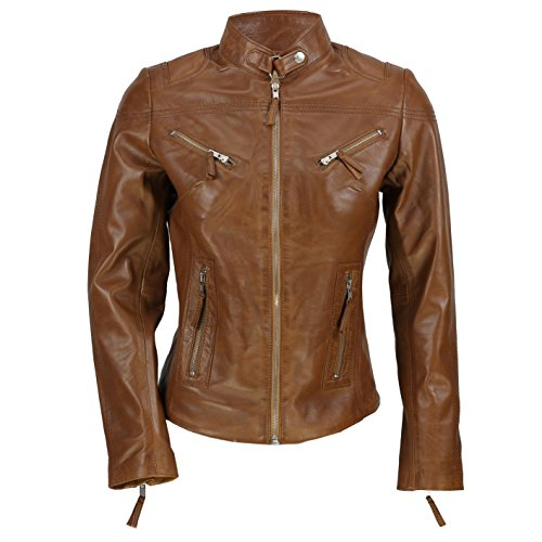 Cazadora vintage de Xposed de estilo motero para mujer, piel auténtica de color marrón Marrón marrón XX-Large