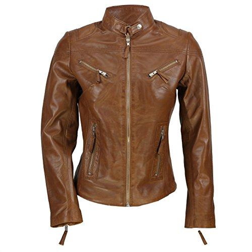 Cazadora vintage de Xposed de estilo motero para mujer, piel auténtica de color marrón Marrón marrón Medium