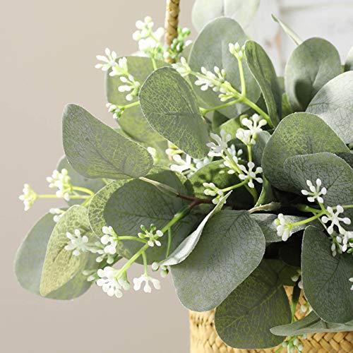 YQYAZL Künstliche Eukalyptusblätter, 40 Stück, Seide, Silber, Eukalyptusblätter, Silber-Dollar, Eukalyptus-Pflanze, Bulk für Hochzeit, Garten, Heimdekoration
