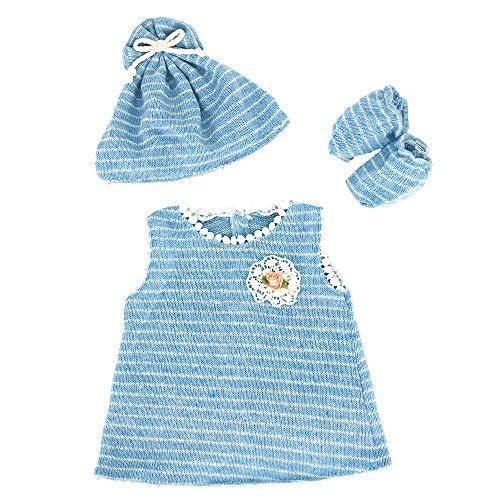 ZWOOS Puppenkleidung für New Born Baby Doll, niedlich Baumwolle Outfit mit Hut und Socken für Puppen 35-43 cm (Blau)