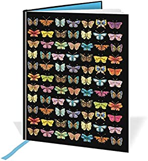 A6 Casebound Notebook - Butterflies Design – 60 Sheets=120 Pages – Ruled & Silk Ribbon - Size - 148mm X 105mm