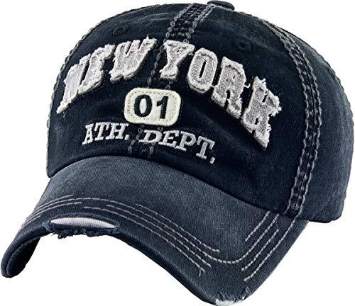 KBVT-541 BLK New York Vintage Distressed Dad Hat Baseball Cap Adjustable