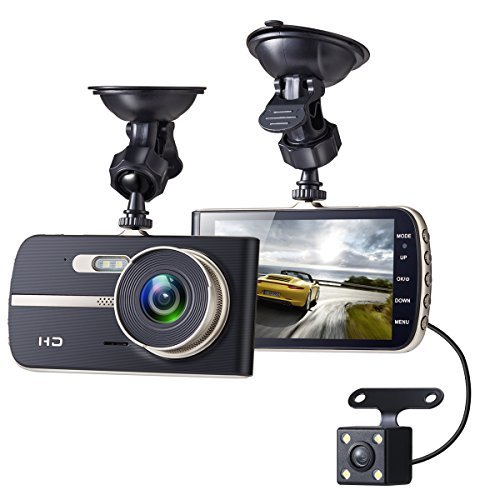 Sebikam Full HD Car Dash Cam, 1080p Front Rear 290 Degree Super Wide Dashboard Camera with 4 Inches Screen, G-Sensor, Parking Mode, Loop Recording, Night Mode